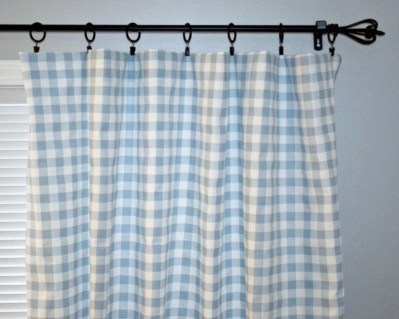Small Check Plaid Curtain Panels Weathered By Beeyourselfdesigns