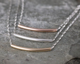 Sterling Silver Curved Bar Necklace - Layering Necklace - You choose rose, yellow or sterling bar  - Bar Pendant - Tube Necklace