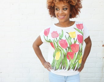 1980s T Shirt Tulip Glitter Top