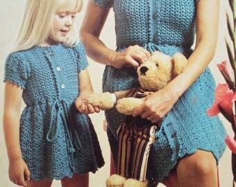Vintage 1970s Crochet Pattern Women's Girl's Lacy Summer Dress Child's Dress 70s original pattern Patons No. 2461 UK