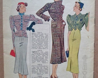 Weldon's Ladies' Journal Portfolio of Fashions No. 693 1937 30s sewing pattern catalog magazine dresses suits lingerie 1930s fashions UK mag