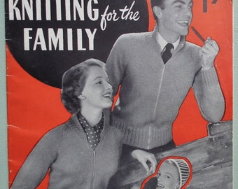 Double Knitting for the Family Vintage 40s 50s Knitting Patterns Book Weldons Practical Needlework No. 325 UK 1940s 1950s original patterns