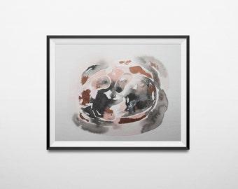abstract watercolor original painting in rose quartz pink, peach, grey, black white. Abstract painting. original art. Minimal, modern art