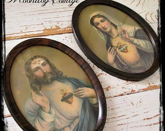 GoRGeouS ANTiQuE PaiR of CaTHoLiC PiCTuReS - CHRiST & BLeSSeD ViRGiN MaRY SaCReD HeaRT