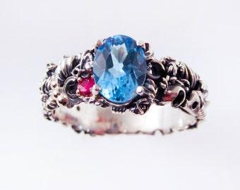 Blue Topaz Steampunk Engagement Ring