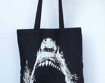 SHARK- Eco-Friendly Market Tote Bag - Hand Screen printed (Ships FREE!)