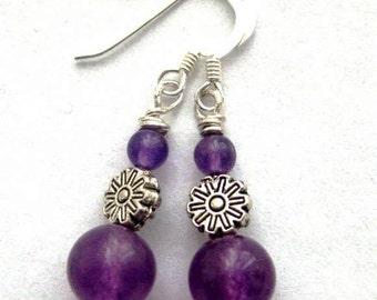 Purple amethyst earrings. Wild Flower