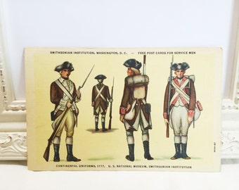 Vintage Military Postcard, 4th of July Postcard, Declaration of Independence, Continental Uniforms, Patriotic Postcard, 1950s