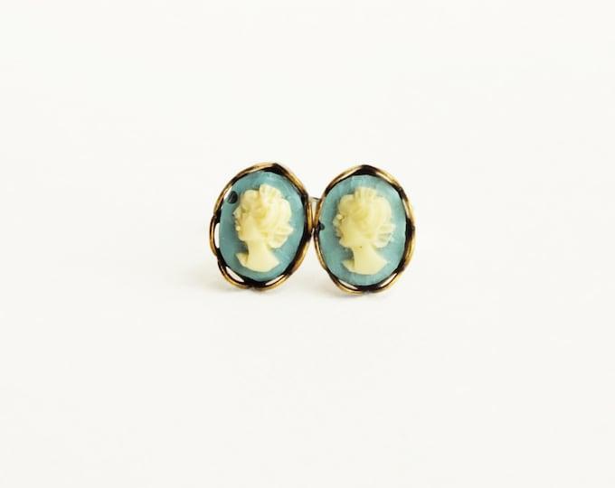 Victorian Cameo Studs Tiny Vintage Cameo Post Earrings Ivory Blue Cameo Earrings Victorian Cameo Jewelry