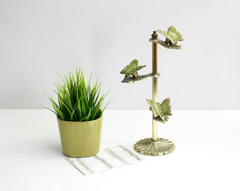 Vintage Brass Butterfly Clip Display Stand by Allied Brass / Brass Letter Holder / Photo Display