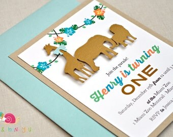 Animal Parade Invitations · A2 LAYERED · Gold Khaki and Turquoise · Birthday Party | Baby Shower | Jungle Safari | Zoo