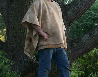 Beige Marble Fleece Poncho with Satin Trim Luke Skywalker Style
