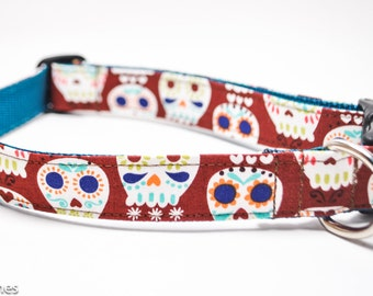 Brown Sugar Skulls Dog Collar / Skull Collar / Chocolate Brown and Navy / Martingale or Buckle