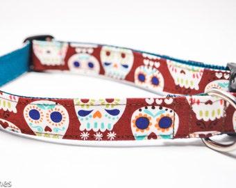 Brown Sugar Skulls Dog Collar / Skull Collar / Chocolate Brown and Navy / Martingale or Buckle