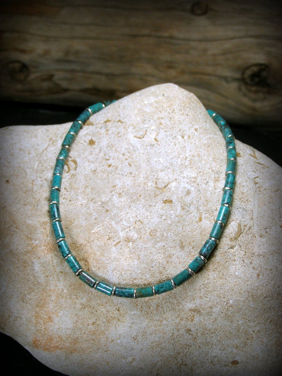 Turquoise bracelet tiny tube Native American tribal style bracelet for men