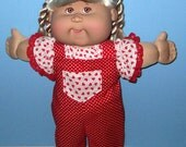 Cabbage Patch Kids  Doll Clothes Heart Bib Overalls Set   16 Inch Doll Clothes Vintage Classic