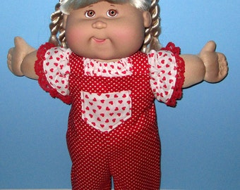 Cabbage Patch Kids, Doll Clothes, Heart Bib Overalls and Top Set,  15  16 Inch Doll Clothes, Vintage Classic Cabbage Patch Doll
