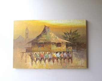 original oil painting tropical landscape polynesian hut on stilts artist signed palette knife impasto impressionist