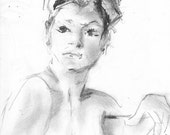 """Original Pencil and Charcoal Drawing - Female Nude Figure - """"Denise"""" - 9.5 x 11 on Drawing Paper"""