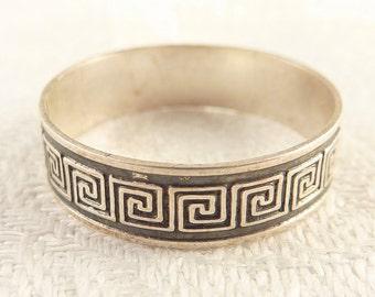Vintage Size 8 Mexican Sterling Greek Meander Pattern Band Ring