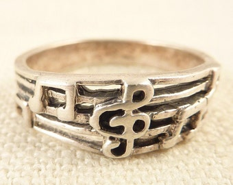 Size 9 Vintage Sterling Openwork Music Measure Ring