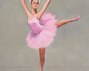 Ballerina, 8x10 Oil on Canvas, Figurative Painting of Dancer