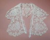 "Antique filet cotton lace edging, 3.75"" x 21"", handmade lace collar"