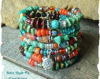 Turquoise Jewelry, Boho Southwest Bracelet, rustic Stone, Layered Stack Wrap Bracelet, Colorful, Boho Style Me, Kaye Kraus
