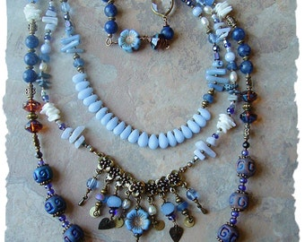 Bohemian Multi-Strand Statement Necklace, Long Blue Beaded Art Necklace, Layered Necklace, Boho Style Me, Kaye Kraus