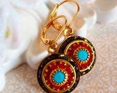 Art Deco Earrings - Black - Crystal Cluster Earrings - Italian Renaissance Jewelry - AURORA Florence