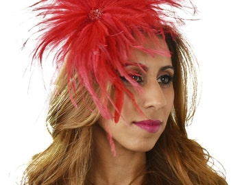 Red Nikoleta Fascinator Hat for Weddings, Races, and Special Events With Headband