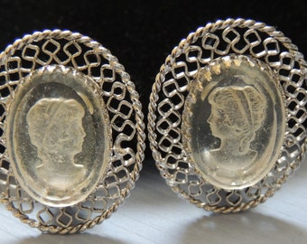 Whiting and Davis Cameo Clip Earrings