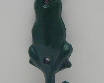 Dog Hook Cast Iron Hunter Green Leash Hook Home Decor