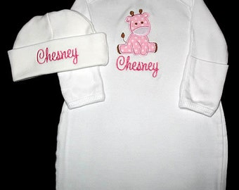 Custom Personalized Applique Pink Polka Dot GIRAFFE and NAME Gown and Hat Set - Pink and Brown