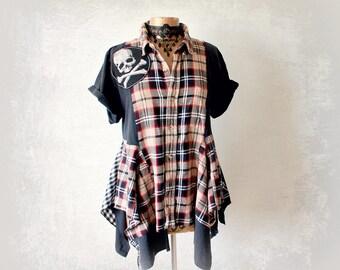 Rustic Plaid Shirt Grunge Clothes Skull Crossbones Lagenlook Clothing Upcycled Tunic Top Bohemian Fashion Women's Rocker Shirt L XL 'TRISTA'