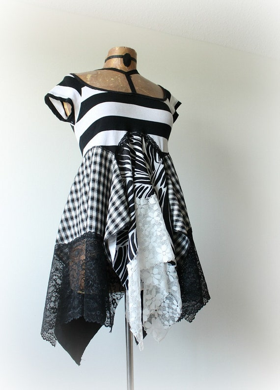 Black White Stripe Upcycle Layer Shirt Chic Lagenlook Top Flowing Draped Boho Women's Clothes Bohemian Clothing Funky Fashion S M 'GISELLE'