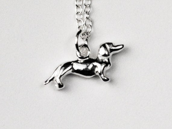 Solid Sterling Silver Tiny Dachshund Necklace