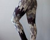 Starling    Organic High Waist Legging, Printed legging, black and Cream, yoga legging, jersey legging, black legging    by Simka Sol®