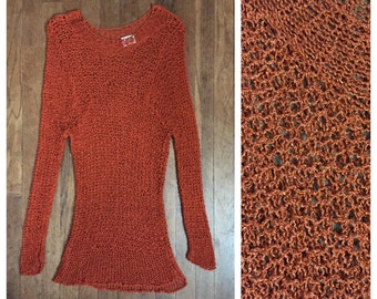 VINTAGE 70s CROCHET mini dress tunic BOHEMIAN