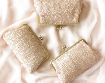 Rose Gold Sequin Bridesmaid Clutch | Blush Wedding Purse | Personalized Bridesmaid Gift [Set of 3 Ella Clutches]