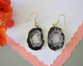 Geode Earrings Gold, Crystal Slice Earrings, Agate, BoHo Jewelry, Druzy Gold Earrings, Drusy Earrings, GGE72