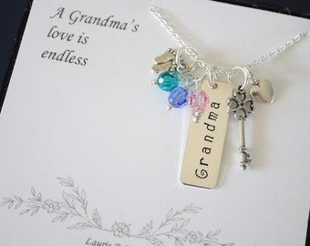 Grandma Necklace Personalized, Mother Gift, Grandchild Brag Sterling Silver Necklace, Monogram Necklace, Mothers Card, Mothers Day