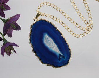Blue Agate Pendant, Agate Necklace, Agate Slice, Boho Jewelry, Gold Plated Agate, Layered Necklace, Boho Necklace, APS83
