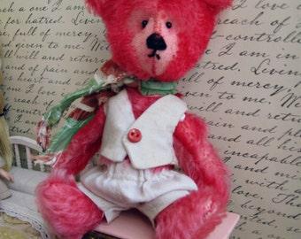 "OOAK Collectible Miniature Artist Mohair Bear - ""Eugene"" - 5-6"" -  Shabby Hand-Dyed Deep Flamingo German Mohair"