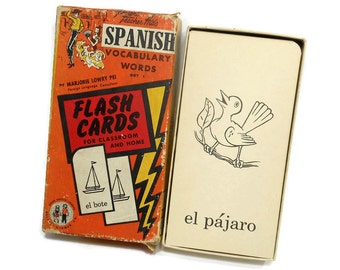 1959 Vintage SPANISH Flash Cards | Boxed Cards | Spanish ONLY | Educational Teaching | Classroom & Home | Paper Ephemera | Vocabulary Cards
