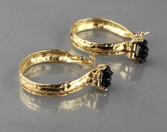 Black Tourmaline Earrings, Gold Filled Hoop Earrings, Tourmaline Jewelry, Unique Anniversary Gifts, Gemstone Earrings, Black Tourmaline