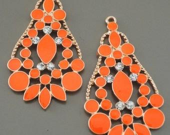Orange Rhinestone Boho Earring Drop Finding Charm Pendant Jewelry Supplies Earring Component Crystal Earring Boho Earrings