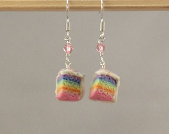 Miniature Food Rainbow Cake Earrings