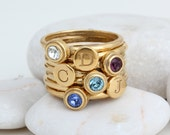 Gold Stacking Initial and Birthstone Rings. Gift For Her Mom Mothers Grandmothers. Personalized with Intitials and Birthstones