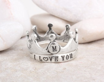 Crown Ring. Custom Silver Crown Ring Stamped with an Initial.  Stack with a custom stamped silver band by Nelle and Lizzy